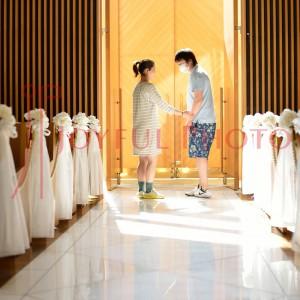結婚式のリハーサル 新婦さんと新郎さん